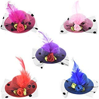 Hair Clips, 12PCS Mini Hat Hair Clips For Children And Ladies Girls Decorated Hair Fascinator Hat Party Tea Or Cocktail Party Hat Hair Clips Flowers Feather Ribbons And Mesh Multiple Colors 2.1 Inch