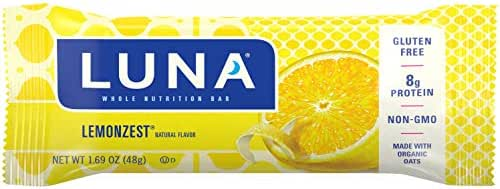 LUNA BAR - Gluten Free Bars - Lemon Zest Flavor - (1.69 Ounce Snack Bars, 15 Count)(Packaging May Vary)