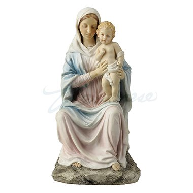 Religious Figurine Mother Mary Holding Baby Jesus 8 1/4 Inch Light Color Stone Statue ()