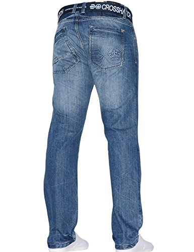 Crosshatch Uomo Jeans Stonewash Straight Techno wvwPpZqr