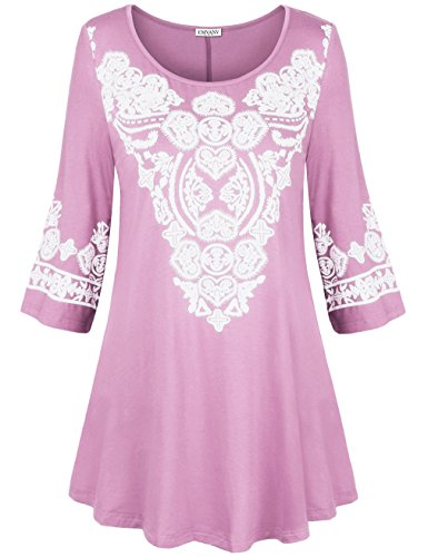 Tunics for Women to Wear with Leggings,EMVANV Teen Girls Cozy Geometrical Pattern Boho Cotton Tunics for Women 3/4 Sleeve Floral Tops Long Sleeve Tunics,Pink 2XL