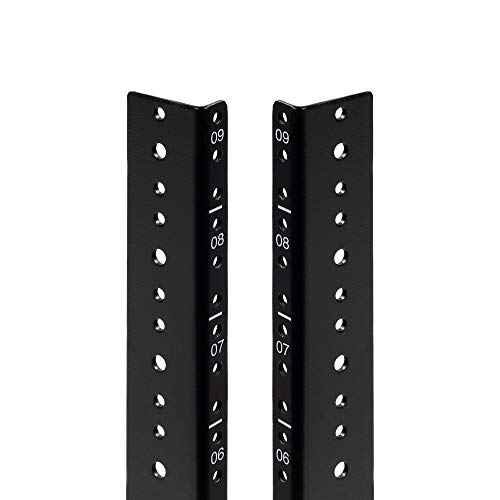 NavePoint 9U Vertical Rack Rail Pair DIY Kit with Hardware, Black