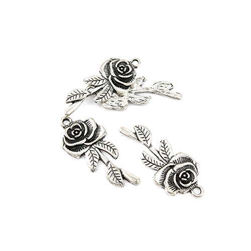 Jewelry Pendent Findings - Qty 10 Pieces Ancient Silver Jewelry Making Charms Findings C0437 Rose Pendent Bulk for Bracelet Necklace