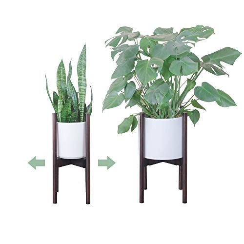 Solid Iron Planter Stand - Mid Century Modern Plant Stand Adjustable Width 9