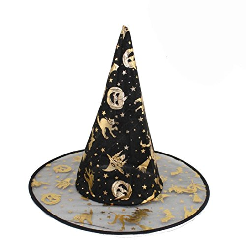 NOMENI Adult Womens Black Witch Hat For Halloween Costume Accessory