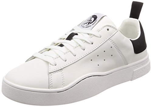 Diesel Men's S-Clever Low-Sneakers, White/Black, 8.5 M US