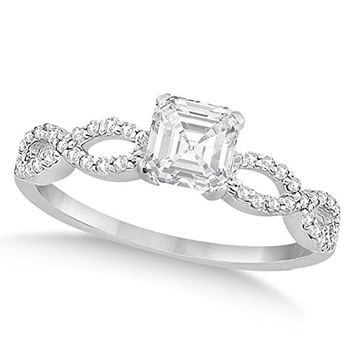 Twisted Infinity Asscher Cut Diamond Engagement Ring 14k White Gold (0.75ct)