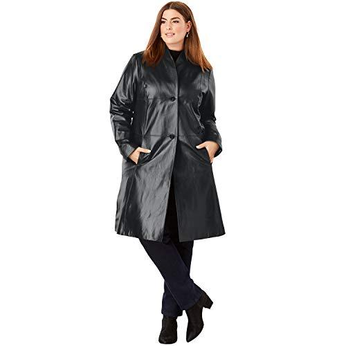 Jessica London Women's Plus Size Leather Swing Coat - Black, 18 ()