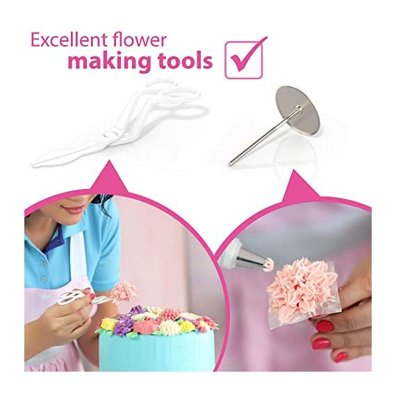 Cake Decorating Kit Cupcake Decorating Kit - 68pcs Cookie Decorating Supplies and Cookie Decorating Kit with Piping Bags and Tips - Frosting Icing Tips Pastry Bags with Tips - Baking Decorating Kit 5 ✅ NEW CAKE DECORATING KIT: Looking for a fresh and stylish cake decorating kit? This icing piping set has every cake decorating tools for expert cake decoration all in one set and something new - Cake Decorating Storage Chest with piping tips Smart Holder! ✅ STYLISH CAKE DECORATING SUPPLIES: Anyone can create professional-looking cakes with these high-quality cake decorating supplies! This cupcake decorating kit includes 36 numbered stainless steel icing tips with Pattern Chart and Extra-Durable 10 pcs icing bags and 2 reusable piping bags. ✅ ICING PIPING SET FOR BEGINNERS: Our cookie decorating kit is designed   to   help   you   create   your   own   decorative   masterpieces   of   all   shapes and   sizes , no matter what your    skill   level may be.   No decorating experience needed!
