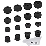ALXCD Ear Tips for Powerbeats2 Wireless Headphone, SML 3 Sizes 6 Pair Silicone Replacement Earbud Tips & 2 Pair Double Flange Ear Tip Cushion, Fit for Beats Powerbeats 2 Wireless [8 Pair]?Black?