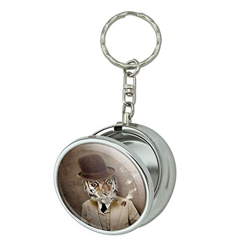 GRAPHICS & MORE Tiger in Hat and Suit Smoking Pipe Portable Travel Size Pocket Purse Ashtray Keychain with Cigarette Holder