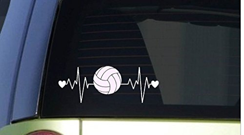 Volleyball Heartbeat Decal Vinyl Sticker|Cars Trucks Vans Walls Laptop| WHITE |7.5 x 2.75 in|CCI628