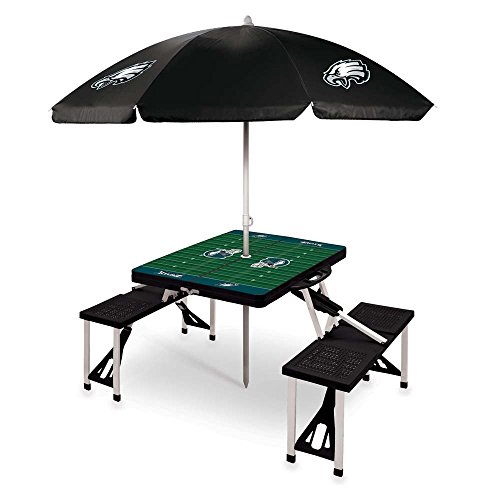 NFL Philadelphia Eagles Picnic Table Sport with Umbrella Digital Print, One Size, Black by PICNIC TIME
