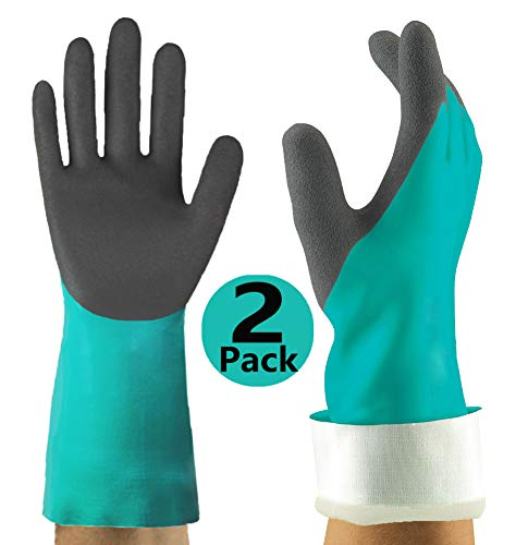 (Chemical Resistant Gloves 2 Pack, Double Coating Superior Grip Water-Proof Work Gloves, Ideal for Household Kitchen Cleaning Fishing Auto Garden Watering and More.)