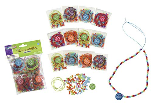 Assorted Color 8.5 Length 6.5 Width 5.5 Height Pack of 12 Chenille Kraft AC4678 Bead Kit with Printed 100 Day Bead