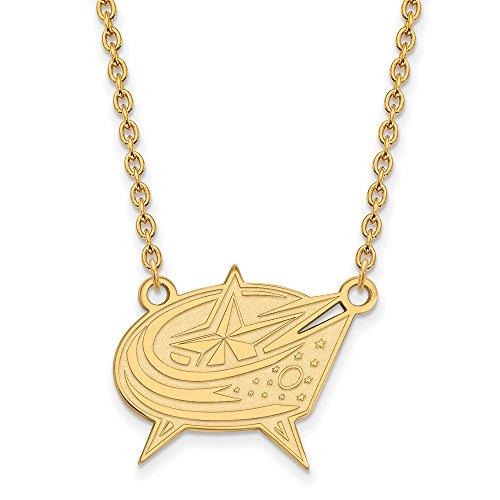 Roy Rose Jewelry 14K Yellow Gold NHL LogoArt Columbus Blue Jackets Large (Yellow Jackets Seal Pendant)