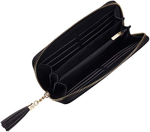 Travelambo Womens Wallet Tassel Bifold Ladies Cluth Wristlet Wrist strap Long Purse 2