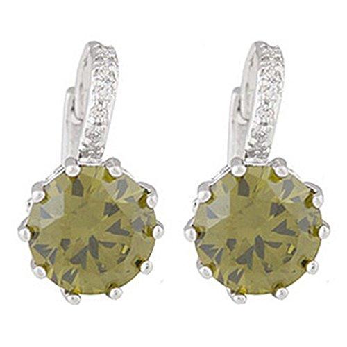 Ameesi Women's Jewelry Gift 9K Gold Plated Big Zircon Rhinestone Huggie Earrings