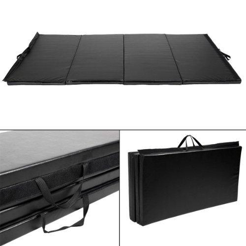 4'x10'x2″ Gymnastics Mat Folding Panel Gym Fitness Exercise Mat Black