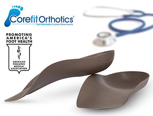 Corefit SELF Moldable Custom Orthotics (Podiatrist Grade 3/4 Shoe Inserts) for Plantar Fasciitis, Arch & Heel Pain. Dress/Sport Arch Supports (Rigid Orthotics, Handcrafted in USA) Mens 11/Womens 13