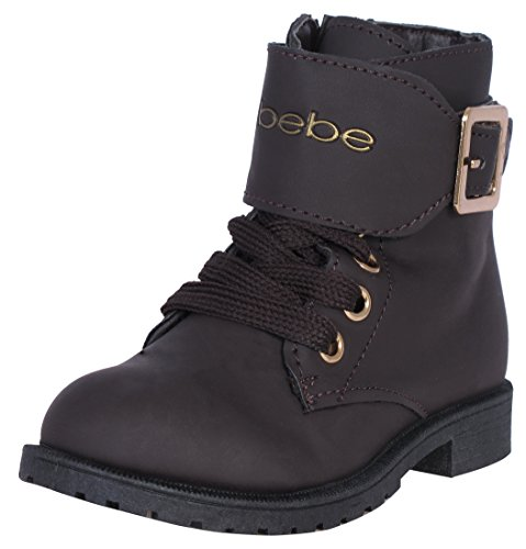 Brown Combat Boots For Girls ('Bebe Girls Combat Boots with Metallic Bebe Print, Brown, Size 1')