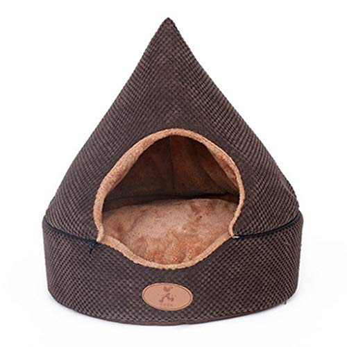 Houses & Habitats Closed Dog Sofa Indoor Kennel Small and Medium Dog Tent Pet Yurt Multi-Function Four-Season Pet House Outdoor Cat Tent (Color : Brown, Size : 434346cm)