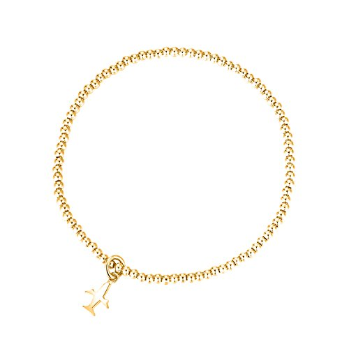 MetJakt Sleek Elastic Beads 18K Gold Plated Classic Stretch Bracelet with Various Pendants (Airplane, Yellow-Gold-Plated-Base)