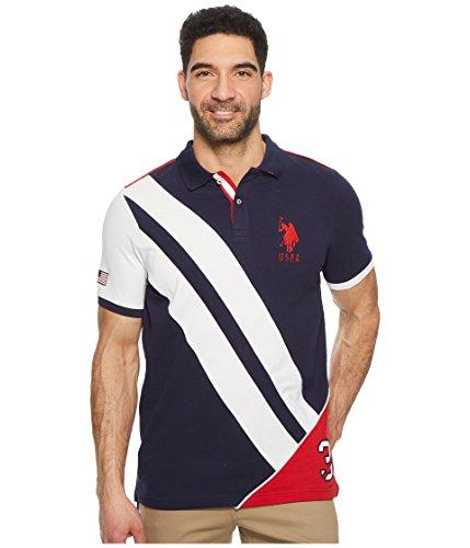 U.S. Polo Assn. Men's Short Sleeve Classic Fit Fancy Pique Polo Shirt, Classic Navy Khkb, (Collar Pique Polo Shirt)