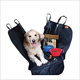 Dog car Seat Predector Cover for Cars SUV's and Small Trucks Anti-Slip Rear Bench Waterproof Pet Hammock for Back Seat with Side Flaps, Anchors, Seat Belt and Latch Openings, Plus 4 Gifts