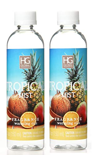 Hosley Aromatherapy Premium Tropical Mist Scented Warming Oils-Set of 2/6 fl oz ea.Made in USA. Bulk Buy. Ideal Gift for Weddings, spa, Reiki, Meditation, Bathroom Settings W1