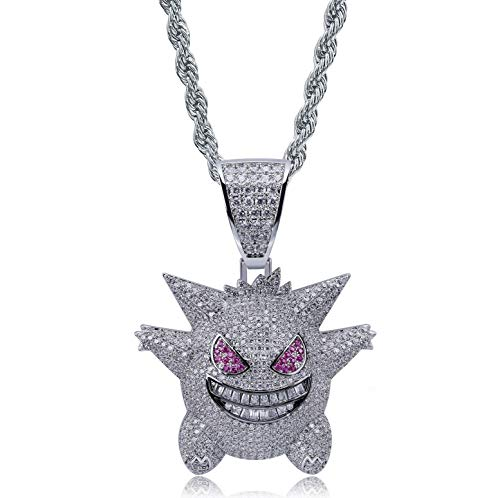 "Moca Jewelry Unisex Exquisite Bubble Gengar Pendant Hip Hop Iced Out Rhinestone Crystal Necklace 18K Gold Plated with 24"" Stainless Rope Chain for Men Women (Silver)"