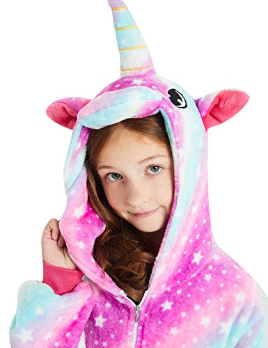 ABENCA Unisex Kids Fleece Onesie Unicorn Pajamas Animal Christmas Halloween Cosplay Costume Sleepwear,Purple Unicorn Sky New, 140