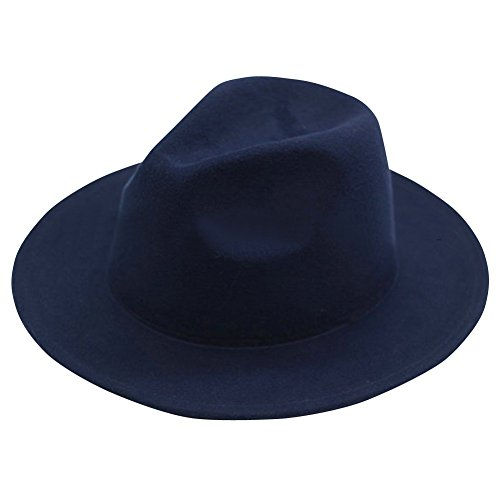 LETSQK Men's Crushable Simulated Wool Felt Fedora Hats Navy (Felt Fedora Hats)