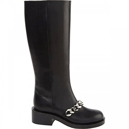high Botas mujer silver shaft Seven Nine chain black TZBOH