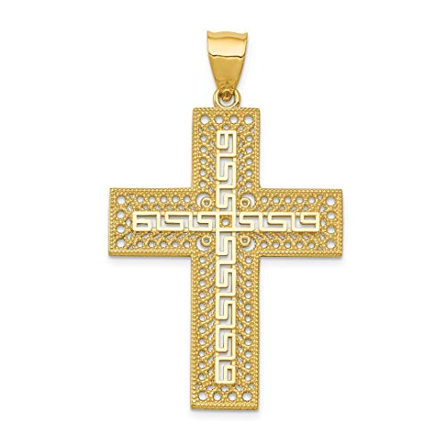 ICE CARATS 14kt Yellow Gold Greek Key Filigree Cross Religious Pendant Charm Necklace Fancy Fine Jewelry Ideal Gifts For Women Gift Set From Heart