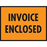 Packing List Envelopes, 7 x 5-1/2, Orange Full Face Invoice Enclosed - 1000/Carton (1 Carton)