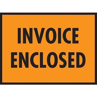 Packing List Envelopes, 7 x 5-1/2, Orange Full Face Invoice Enclosed - 1000/Carton (1 Carton)