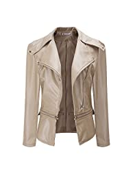 HGWXX7 Women's PU Leather Turn-Down Collar Zipper Moto Biker Short Coat Parka Outwear Jackets