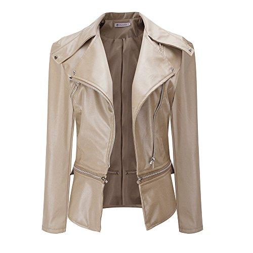 (HGWXX7 Women's PU Leather Turn-Down Collar Zipper Moto Biker Short Coat Parka Outwear Jackets(Beige,2XL))