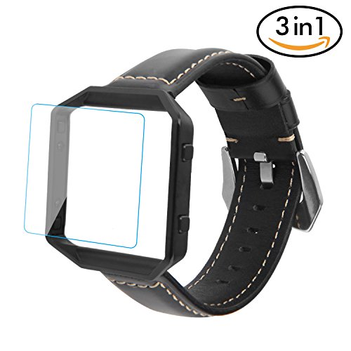For Fitbit Blaze Bands, Greatgo Soft Silicone Replacement Bands with Black Frame and Screen Protector 3 in 1 for Fitbit Blaze Smart Fitness Watch