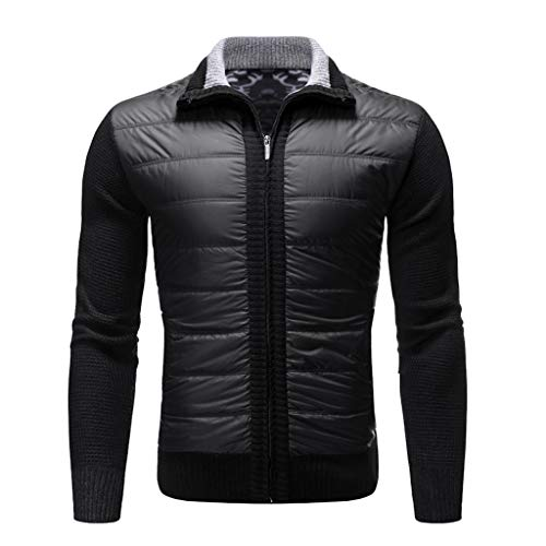 Sunhusing Men's Zip Stitching Lapel Solid Color Long Sleeve Pocket Patchwork Cardigan Sweater Jacket Outwear Black (Best Black Friday Items 2019)