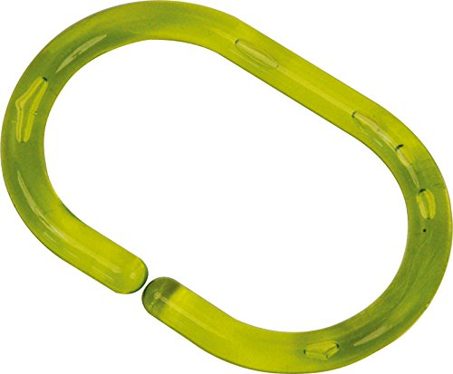 (EVIDECO 2201140 Shower Curtain Rings Plastic Hooks Solid And Clear Color Set of 12 (Clear Lime Green))