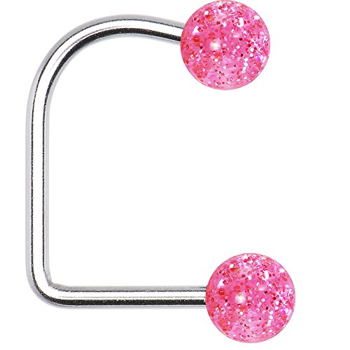 Body Candy 14 Gauge Pink Acrylic Glitter Ball Lippy Loop ()