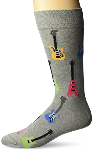 Hot Sox Men's Classic Fashion Crew Socks, Electric Guitars (Sweatshirt Grey Heather), Shoe Size: 6-12