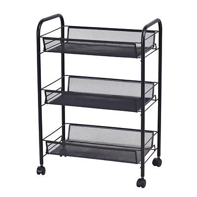 3 Tiers Kitchen Trolley Mesh Rolling File Utility Cart Home Office Storage Basket Black Organizer by Allblessings