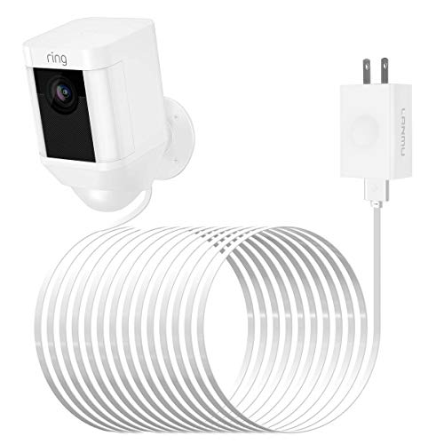 LANMU Power Adapter for Ring Spotlight Camera,Weatherproof Power Supply Cable for Ring Spotlight Cam Battery HD Security Camera (White,20ft/6m)