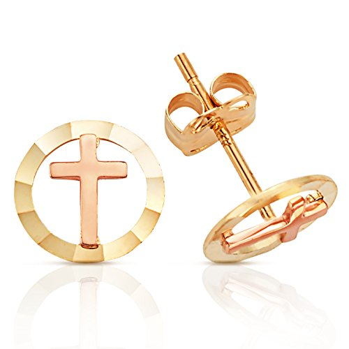 Solid Cross With Halo Stud Earrings in 14K Yellow and Rose Gold