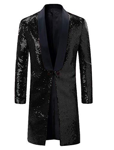 Mens Frock Coat Jacket Costume Halloween Black Glitter Sequins Blazer Jacket for -