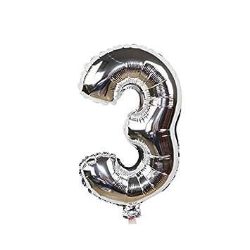 ShopVip Globos de cumpleaños - número 3 - Decoración Cumpleaños gigante de bodas 80 CM - Número gigante globo plata - Número globo 3 años - Número 3 - ...