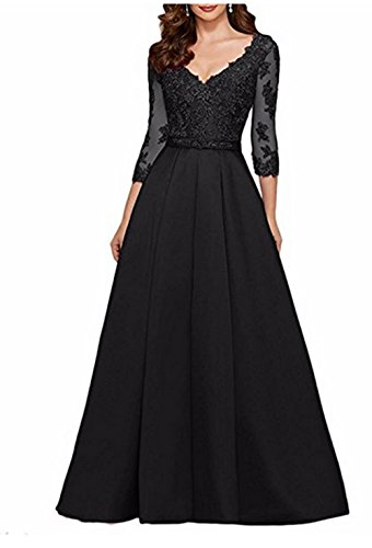 AngelaLove Applique V-Neck 3/4Long Sleeve Mother Of The Bride Dress Beaded Formal Evening Gown ()